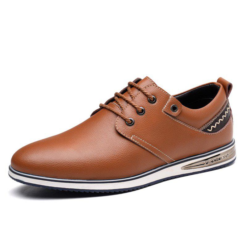 Shop Men Flat Bottom with Trend Casual Pointed Leather Shoes