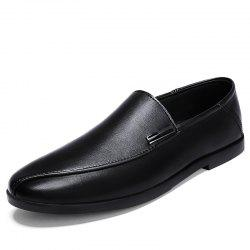 Men Leather Business Flat-Bottom Pointed Trend Casual Shoes -
