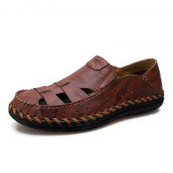 Summer Men Leather Hollow Breathable Casual Shoes Sandals -
