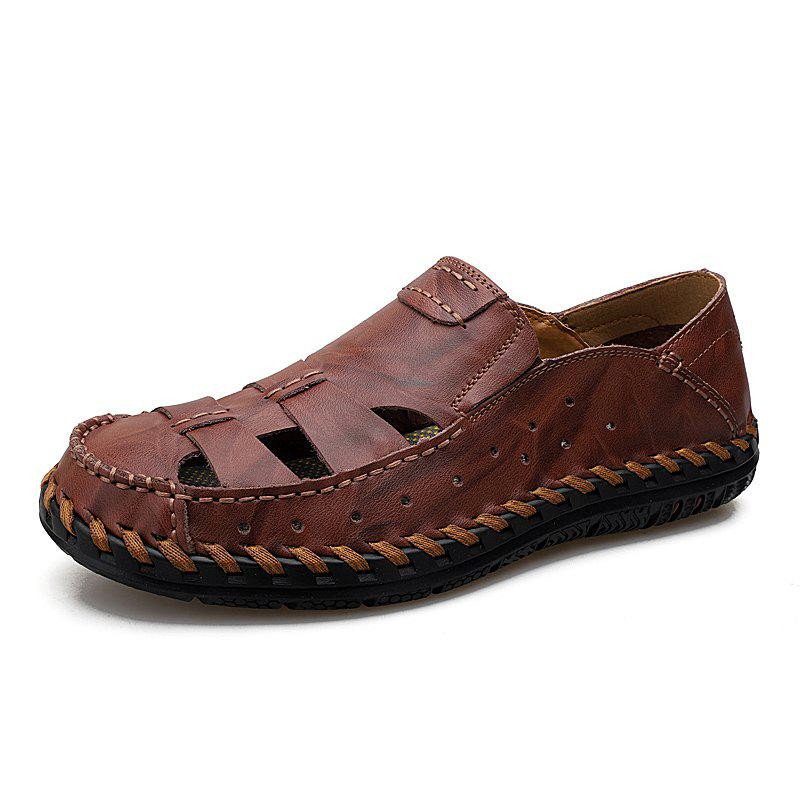 Hot Summer Men Leather Hollow Breathable Casual Shoes Sandals