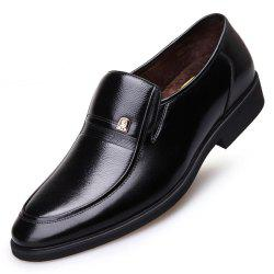 Middle-Aged Winter Warm Cashmere Leather Business Suit Dad Shoes -
