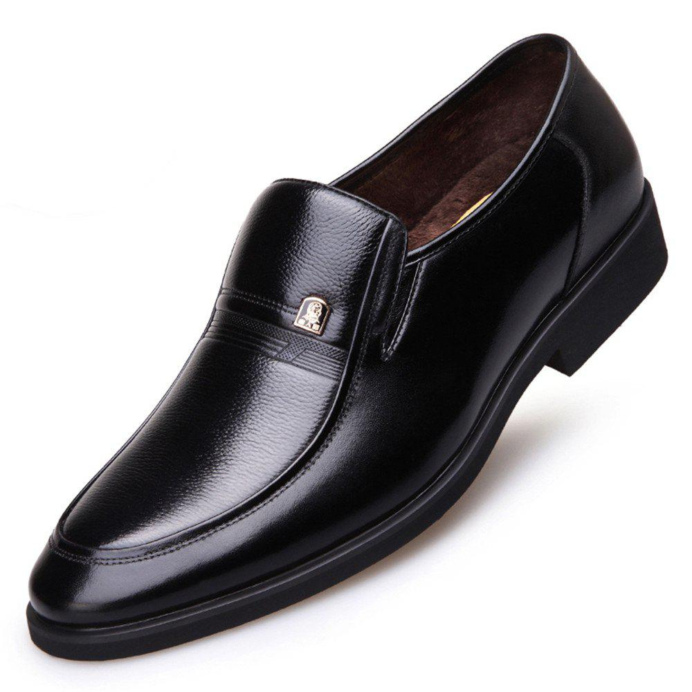 Fancy Middle-Aged Winter Warm Cashmere Leather Business Suit Dad Shoes