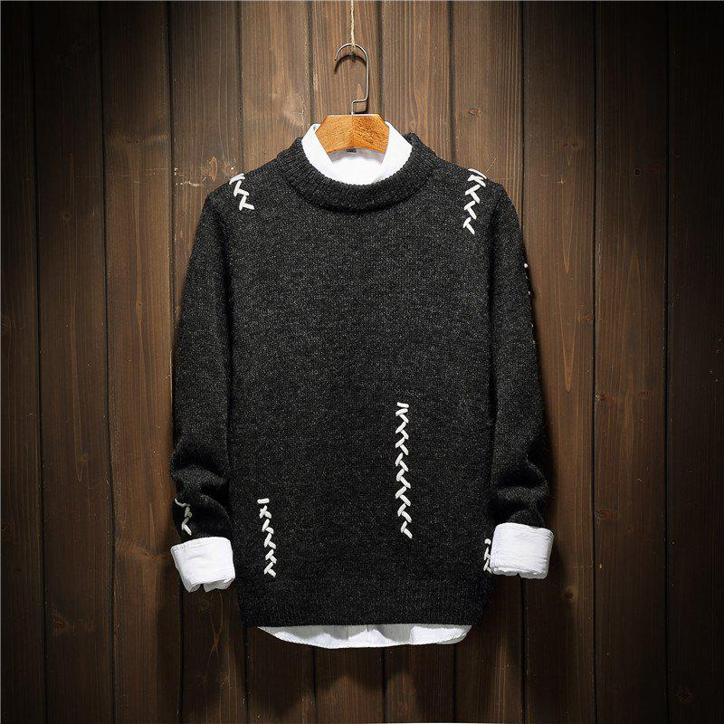Hot Men'S Fashionable Wear String Jersey Personality Fashion Neck Sweater