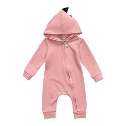 Baby Boy Girl 3D Dinosaur Costume Solid Pink Gray Rompers Warm Spring Autumn Cot -