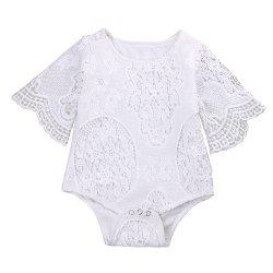 Lovely Gifts Baby Girls White Ruffles Sleeve Romper Infant Lace Jumpsuit Clothes -
