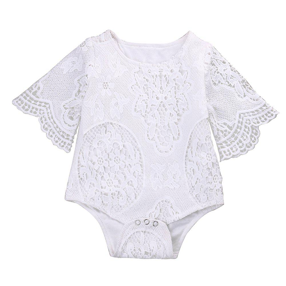 Unique Lovely Gifts Baby Girls White Ruffles Sleeve Romper Infant Lace Jumpsuit Clothes