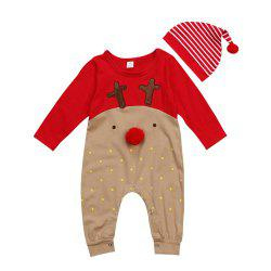 Baby Boys Girl Christmas Rompers Long Sleeve Deer Romper Jumpsuit Sleepwear -