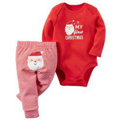 Baby Boys Girls Christmas Letter Cartoon Red Romper Stripe Long Pants Clothes -