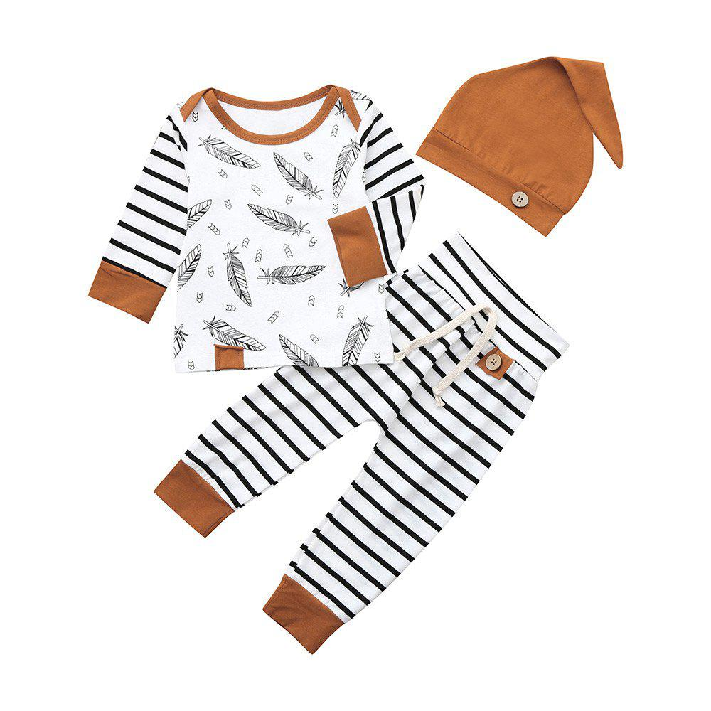 16709c846 Outfits Baby Boy Girl Clothes Feather T Shirt Tops Striped Pants Clothes  Outfits Set