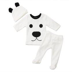 Baby Girl Boy Clothes Cartoon Tops Pants Outfits Fluffy Warm Clothes -