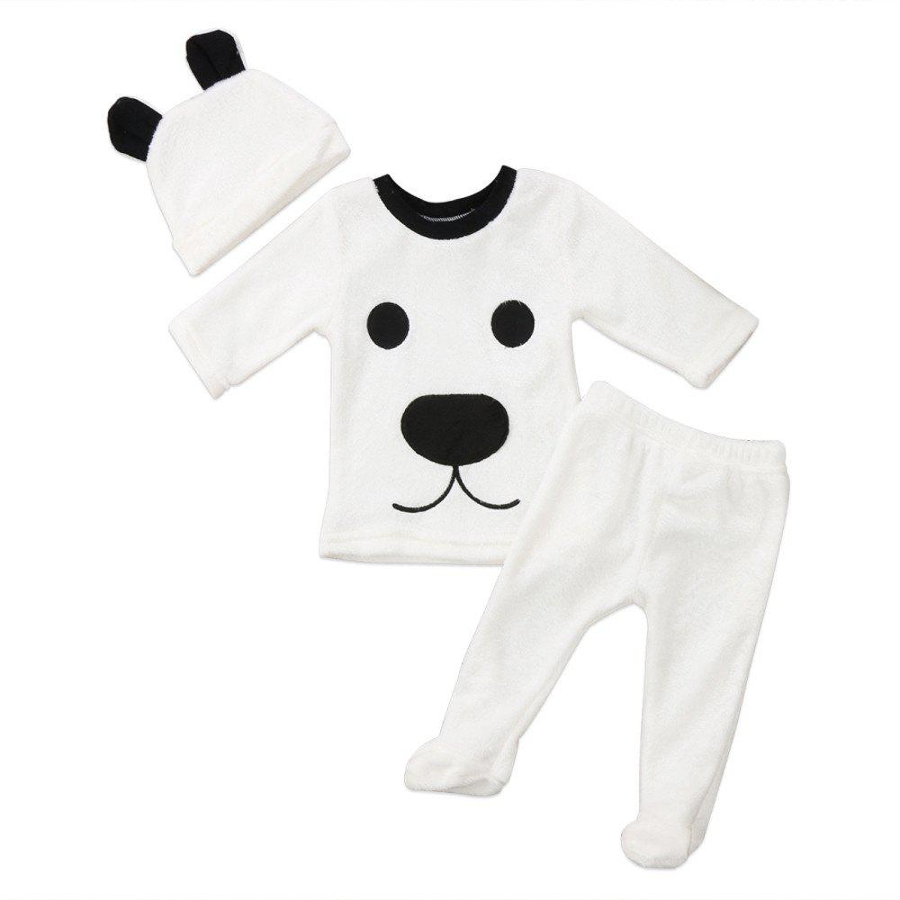 Cheap Baby Girl Boy Clothes Cartoon Tops Pants Outfits Fluffy Warm Clothes