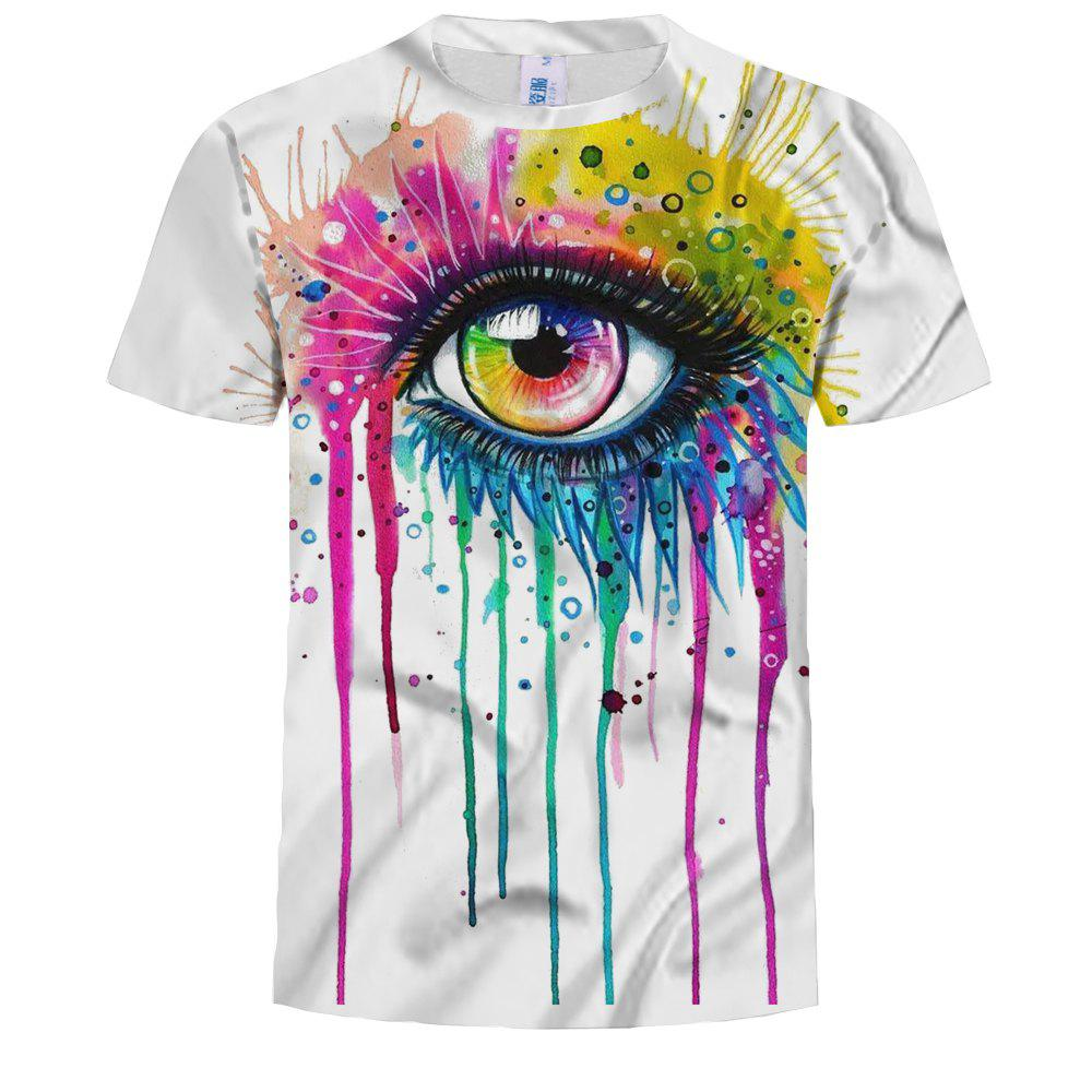 2019 Fashion Big Eye 3d Digital Print Short Sleeve T Shirt Rosegal