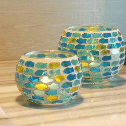 2Pcs Colored Handmade Mosaic Candle Holder Modern Style Party Wedding Decoration -