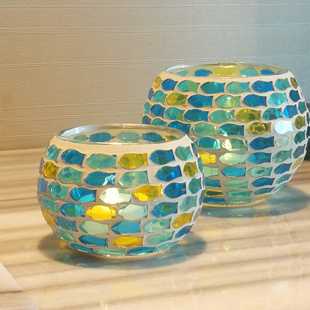 Affordable 2Pcs Colored Handmade Mosaic Candle Holder Modern Style Party Wedding Decoration
