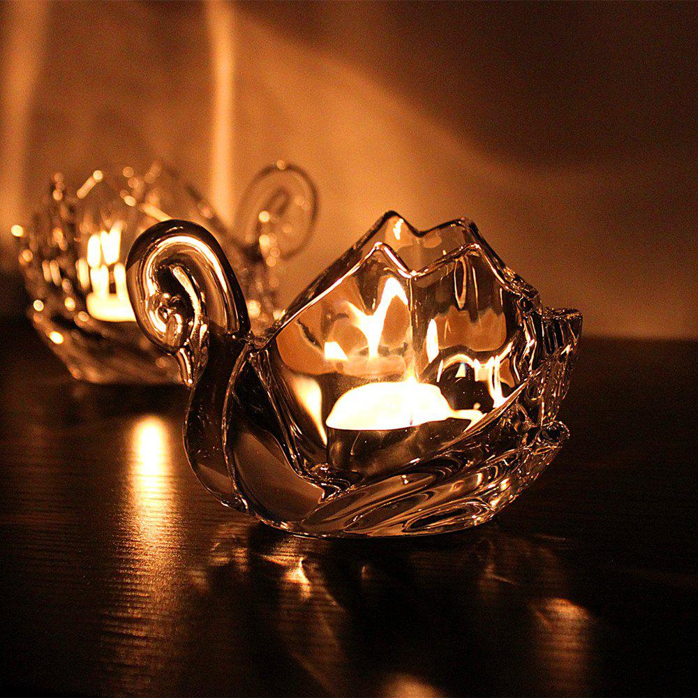 Cheap 1PCS Candle Holder Transparent Glass Swan Candlelight Dinner Wedding Party Decor