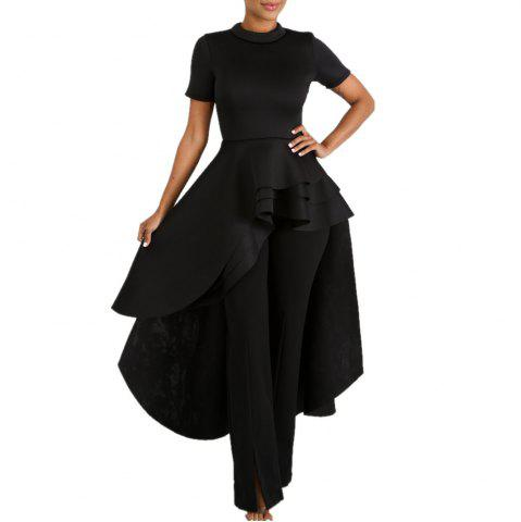 Crew Neck Solid Color Swallowtaild Wave Layered Short Sleeve Evening Dress