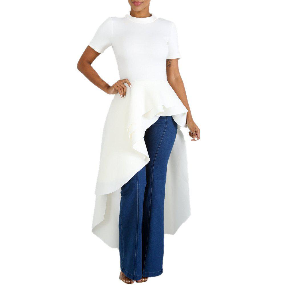 Affordable Crew Neck Solid Color Swallowtaild Wave Layered Short Sleeve Evening Dress