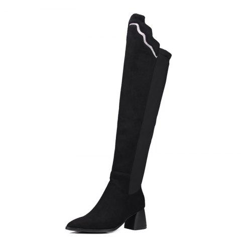0d695b6063c8 2019 New Suede Boots With A Pointed Top Above The Knee