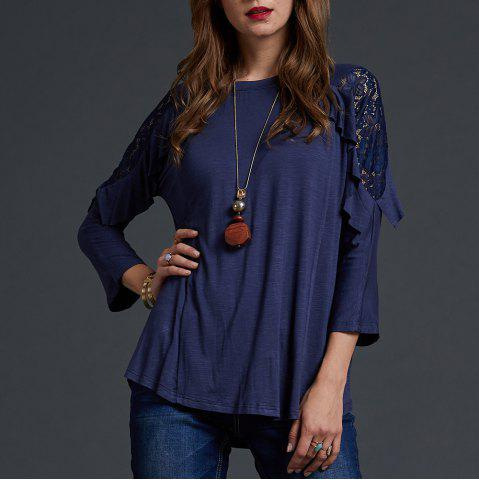 SBETRO Lace Cold Shoulder Shirt Crewneck Ruffle Fashion Solid Top Pullover