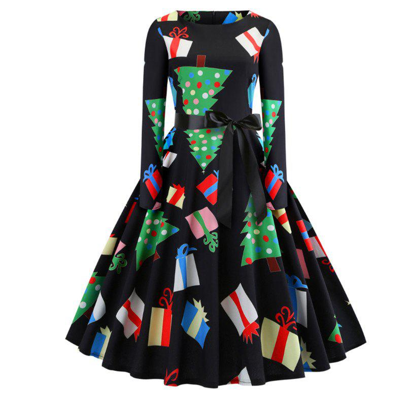Outfit A Dress with A Christmas Tree on Its Dress