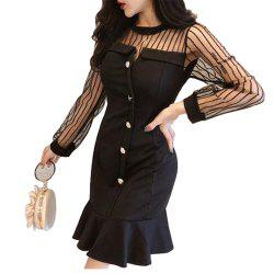Sexy Perspective Mesh Slim Fit Dress -