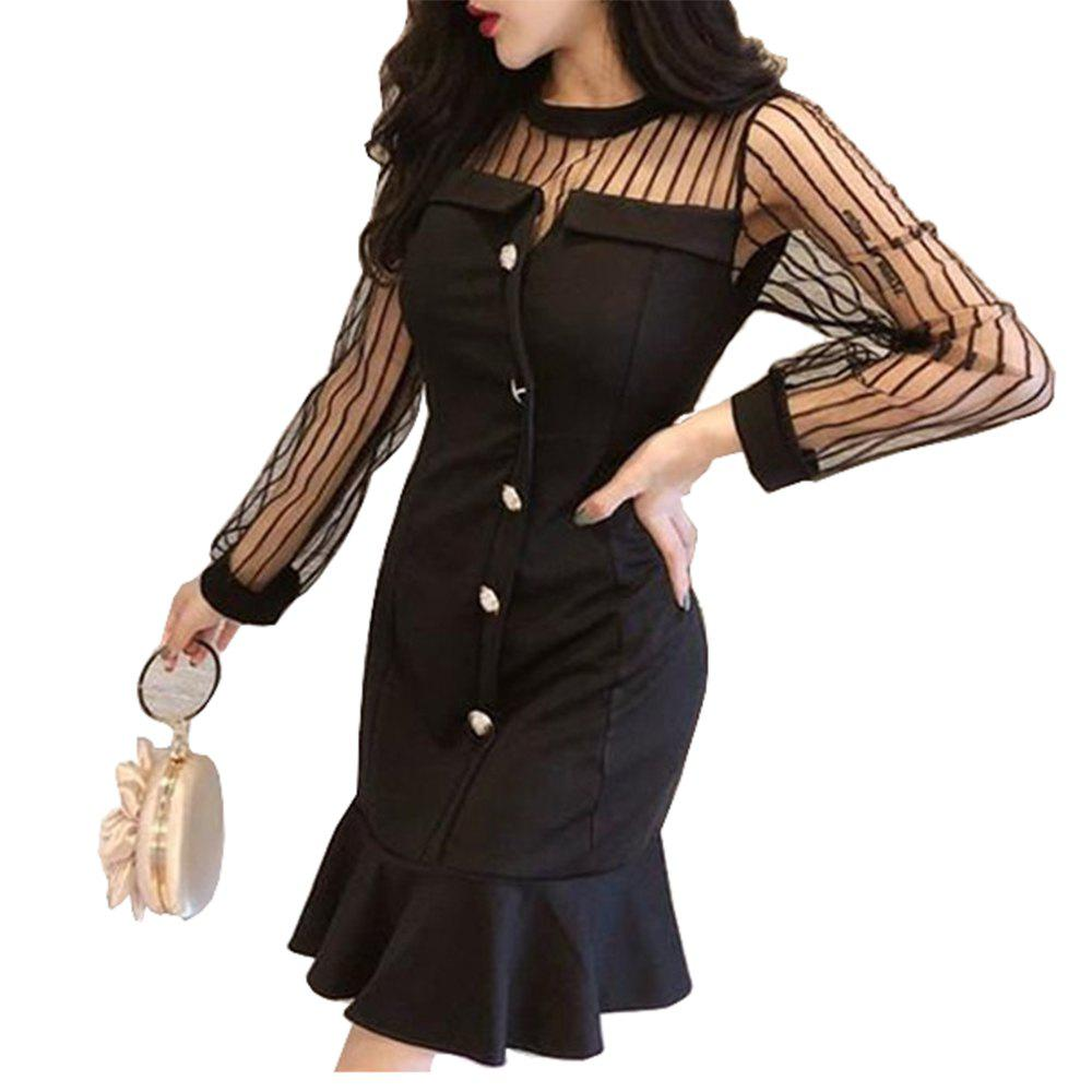 Chic Sexy Perspective Mesh Slim Fit Dress