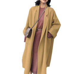 Long manteau de laine couleur unie -