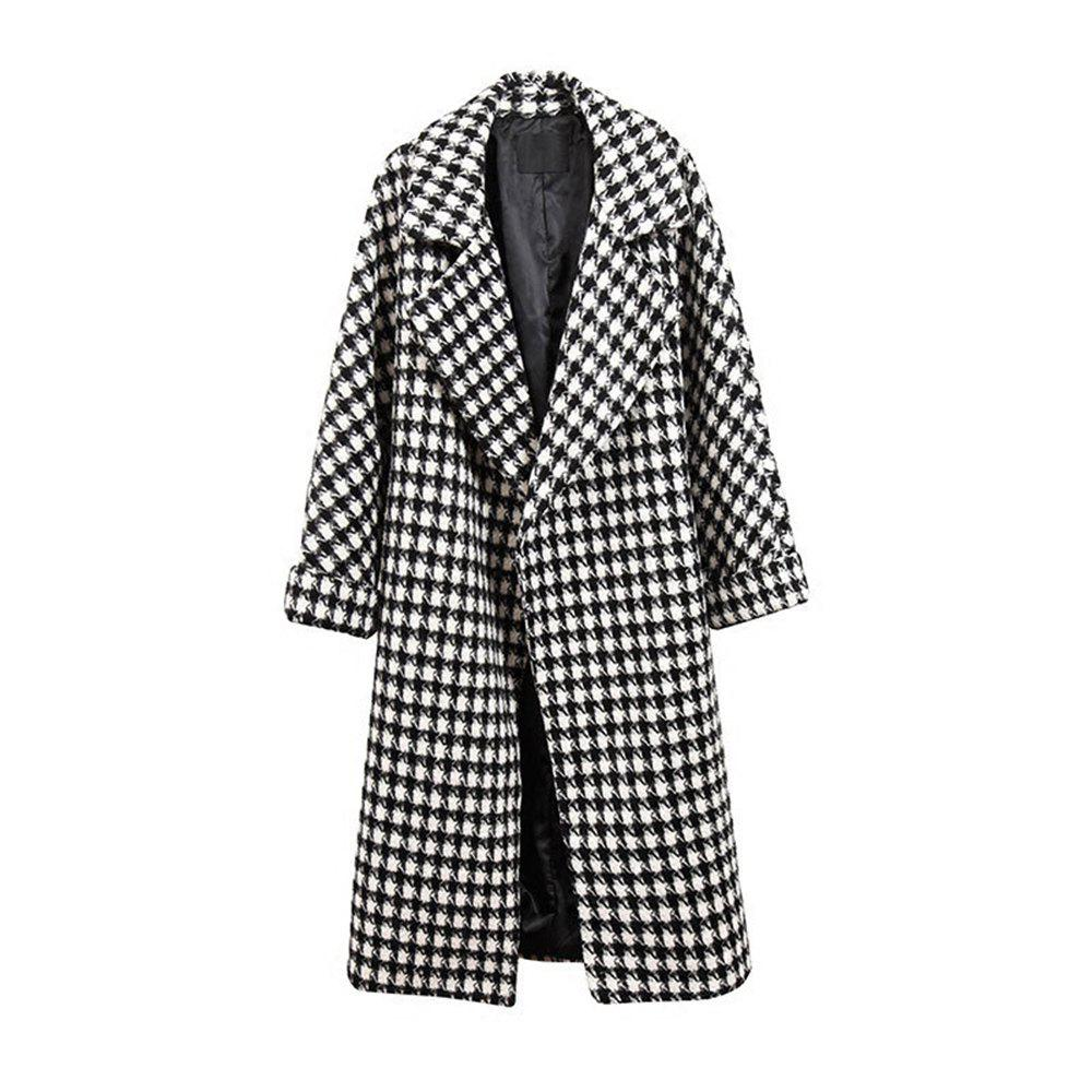 Affordable V-Neck Loose Plaid Woolen Coat