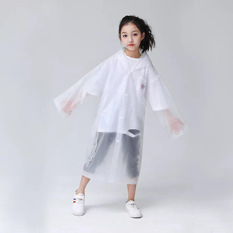 Shop Transparent Clear Reusable Raincoat with Hood and Sleeves for Unisex Children