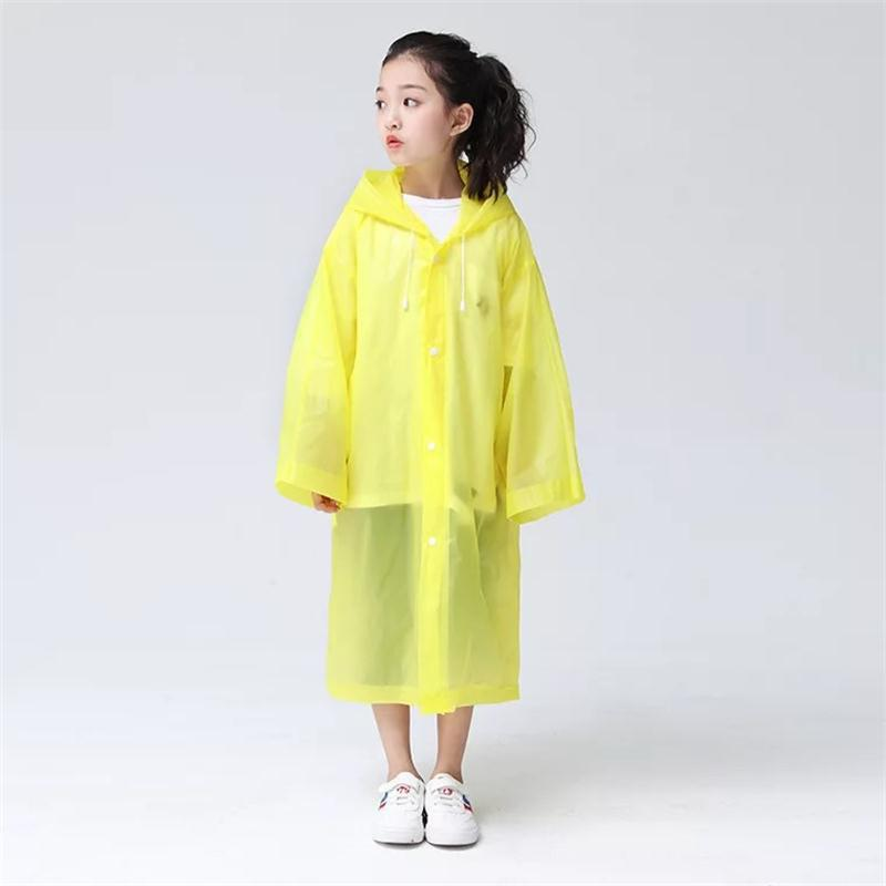 Cheap Transparent Clear Reusable Raincoat with Hood and Sleeves for Unisex Children