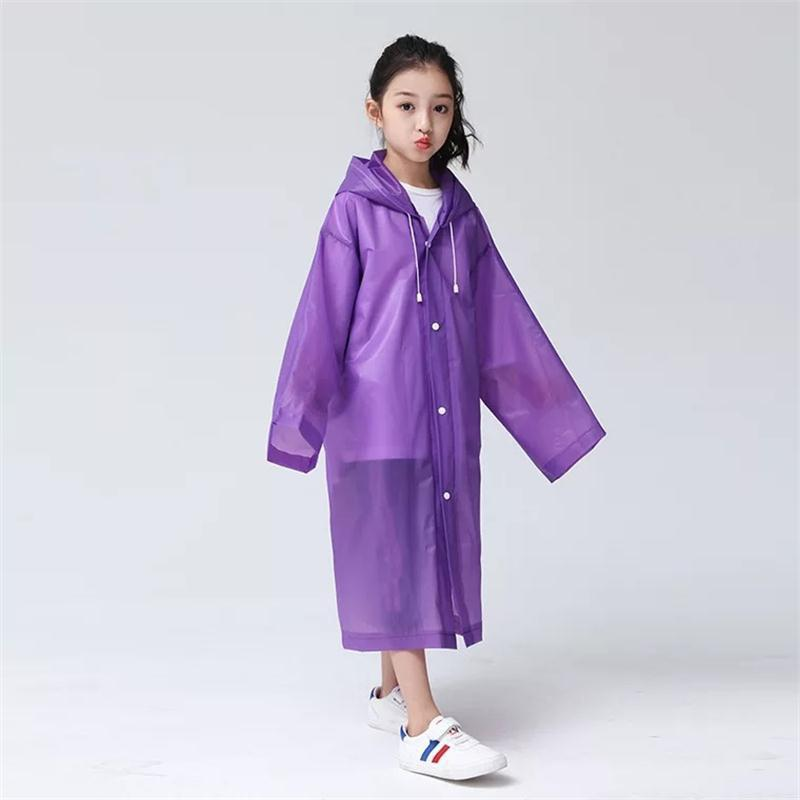 Chic Transparent Clear Reusable Raincoat with Hood and Sleeves for Unisex Children