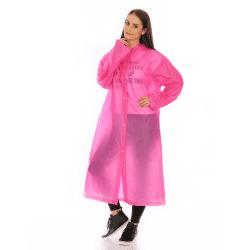 Adult PVC long thick rain poncho raincoat with transparent hoods for outdoor -