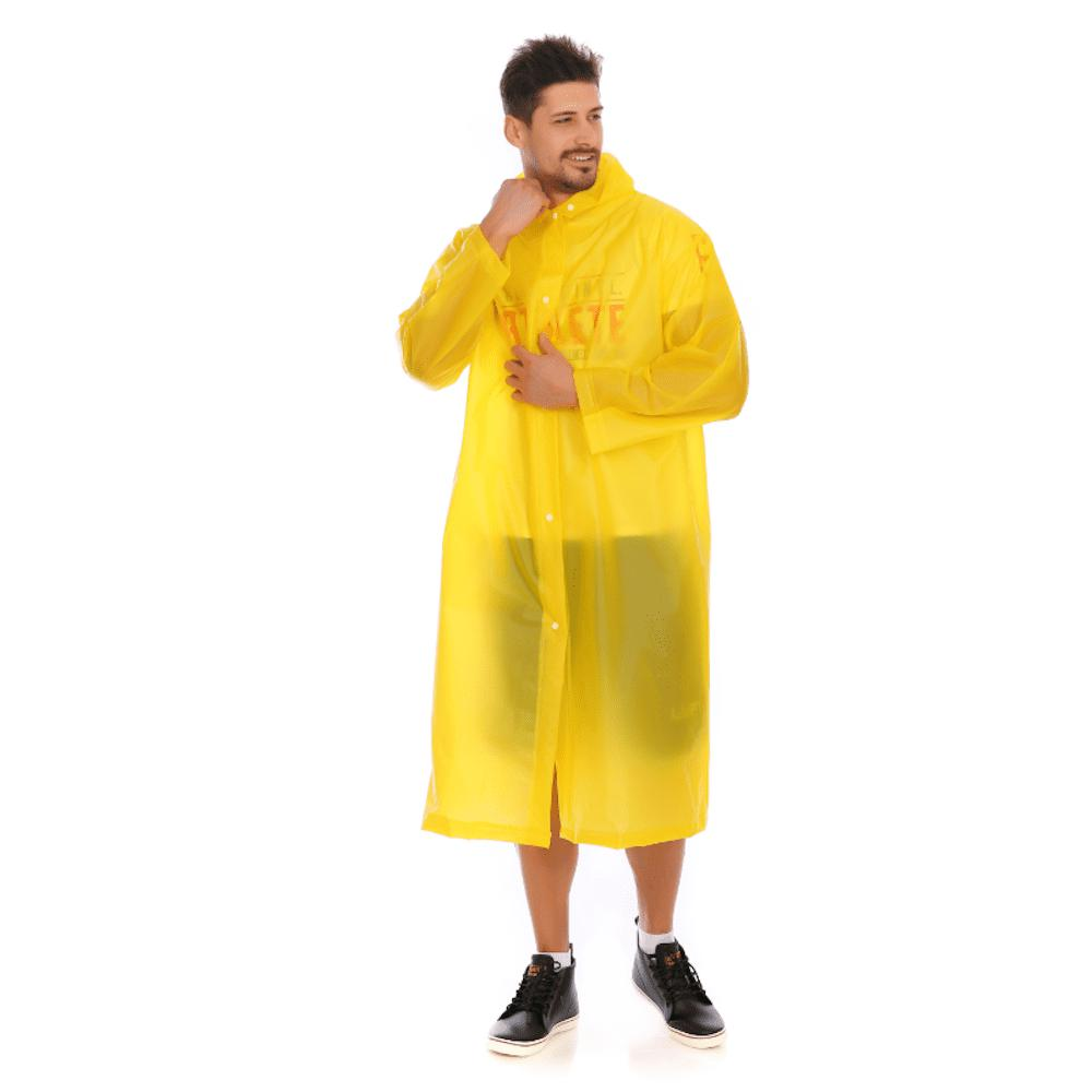 Store Adult PVC long thick rain poncho raincoat with transparent hoods for outdoor