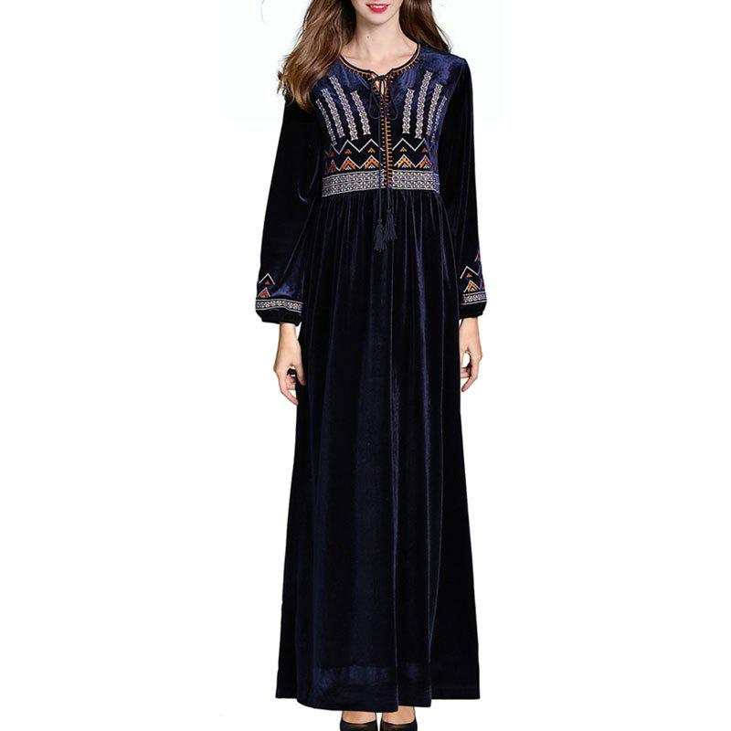 Shops Autumn and Winter New Long-Sleeved Gold Stitching Long Skirt Embroidered
