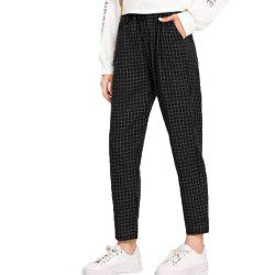 Women's Black Plaid Pants -