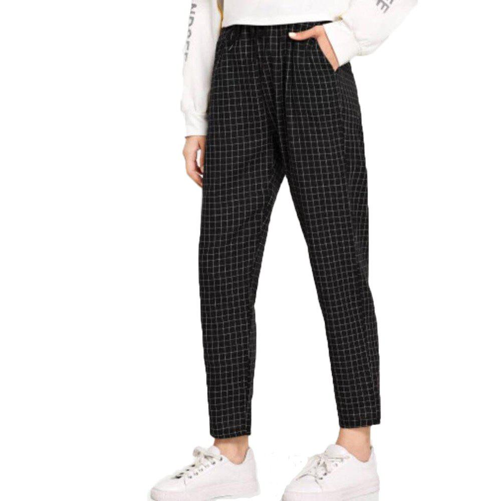 Chic Women's Black Plaid Pants
