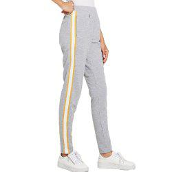Women's Yellow and White Stripes Casual Pants -