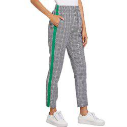Women's Grey Plaid Casual Pants -