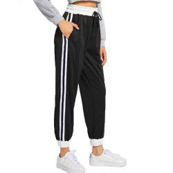 Women's Black and White Striped Pants -