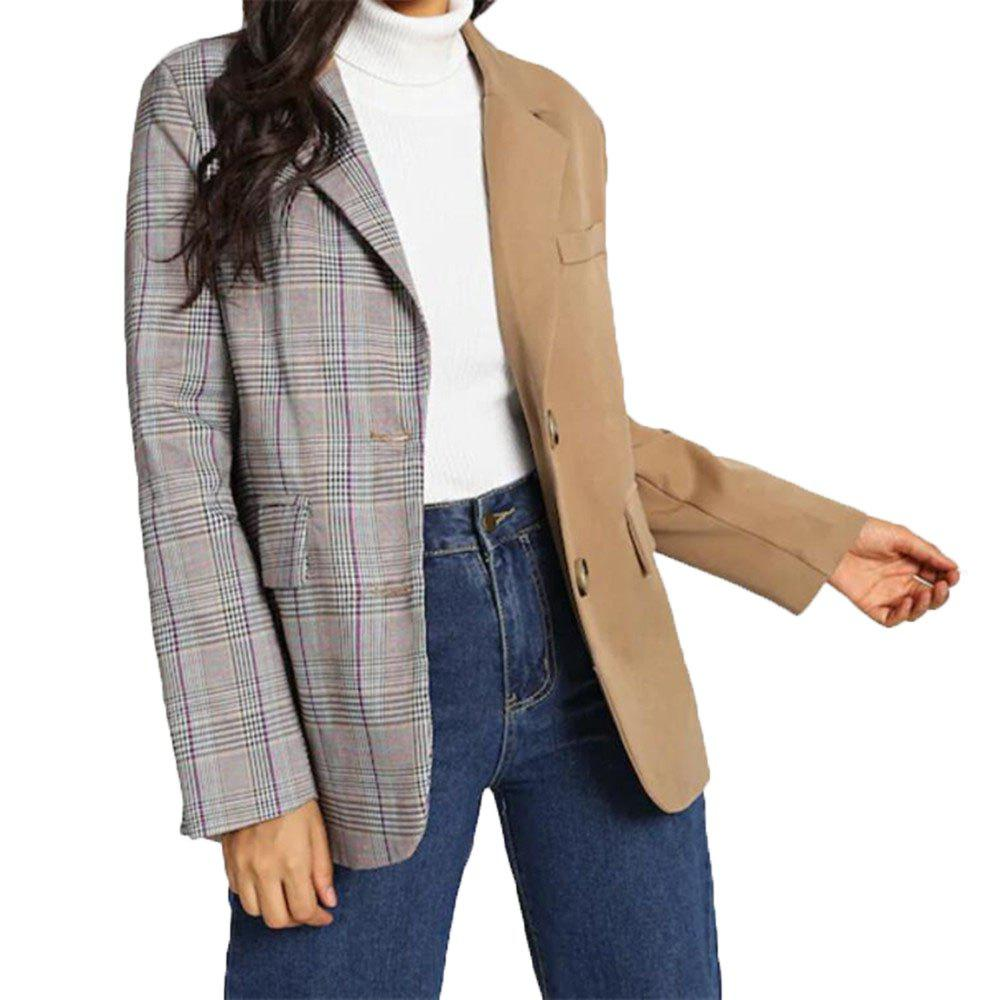 Discount Women's Double Color Plaid Single Breasted Suit