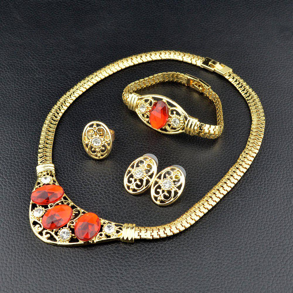 Online Women Jewelry Sets Dubai Gold Silvery Color Nigerian Wedding African Gemstone
