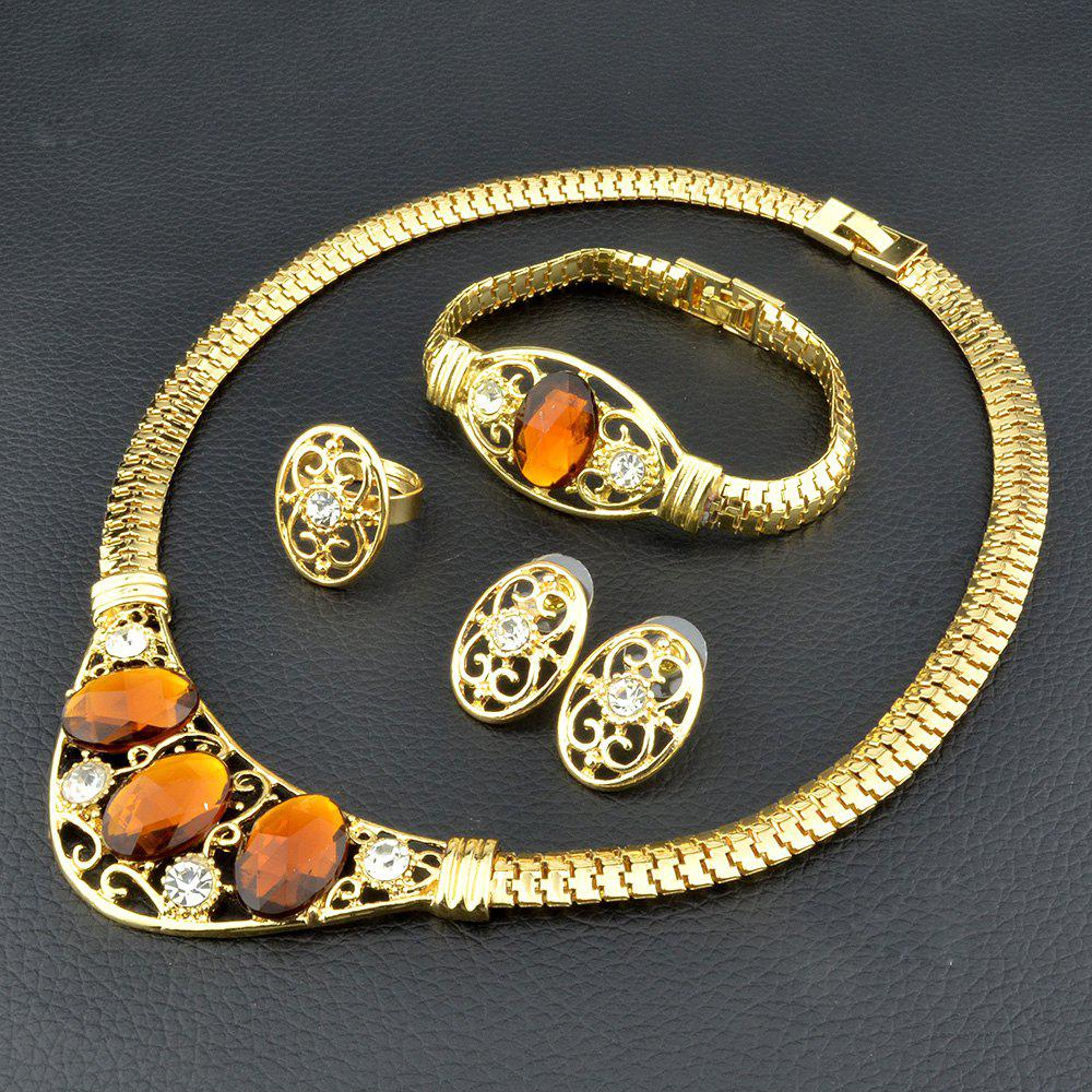 Women Jewelry Sets Dubai Gold Silvery Color Nigerian Wedding African Gemstone