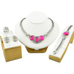 Jewelry Sets Punk Silvery Color Wedding Necklace African Gemstone For Women -