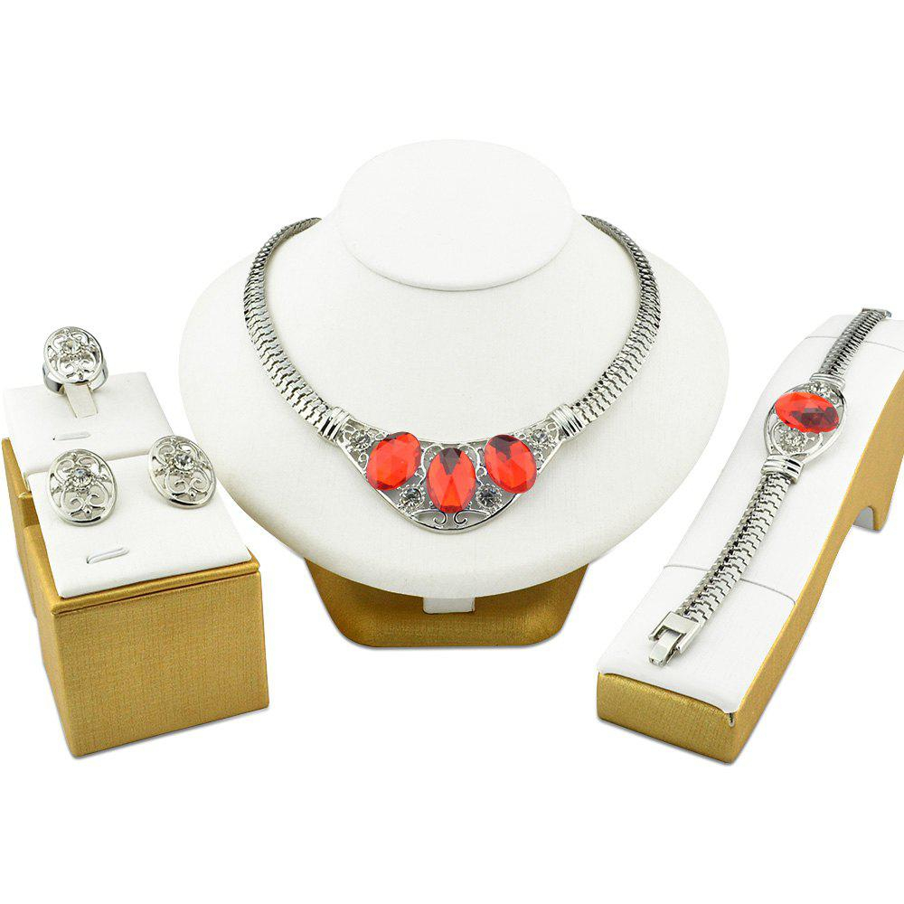 Jewelry Sets Punk Silvery Color Wedding Necklace African Gemstone For Women