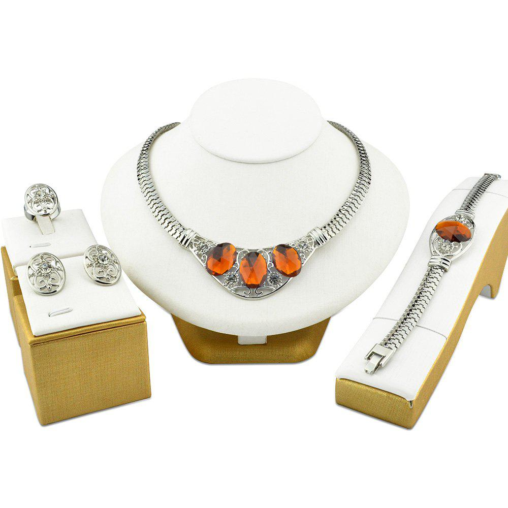 Fancy Jewelry Sets Punk Silvery Color Wedding Necklace African Gemstone For Women