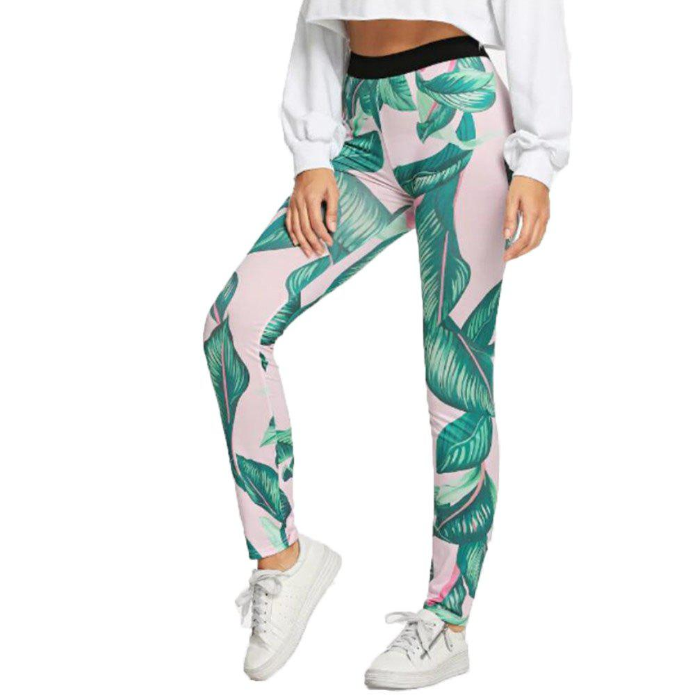 Fashion Women's Leaf Print Yoga Pants
