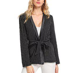 Women'S Long Sleeve Striped Thin Coat -