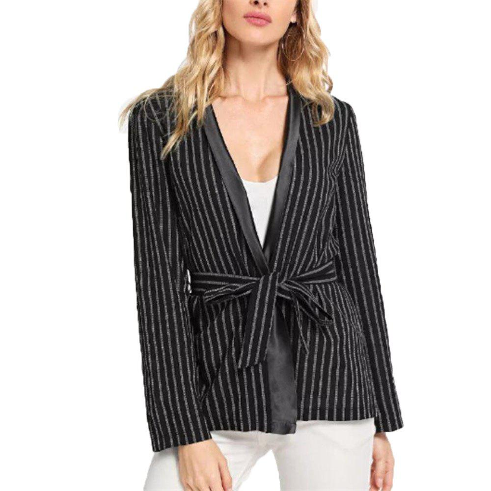 New Women'S Long Sleeve Striped Thin Coat