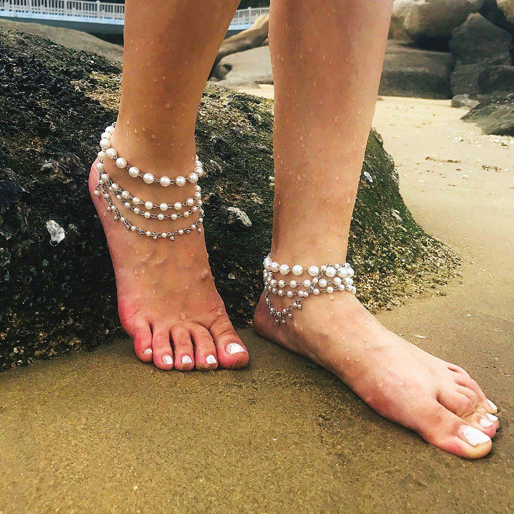 Outfit Simple multi-layered pearl anklet