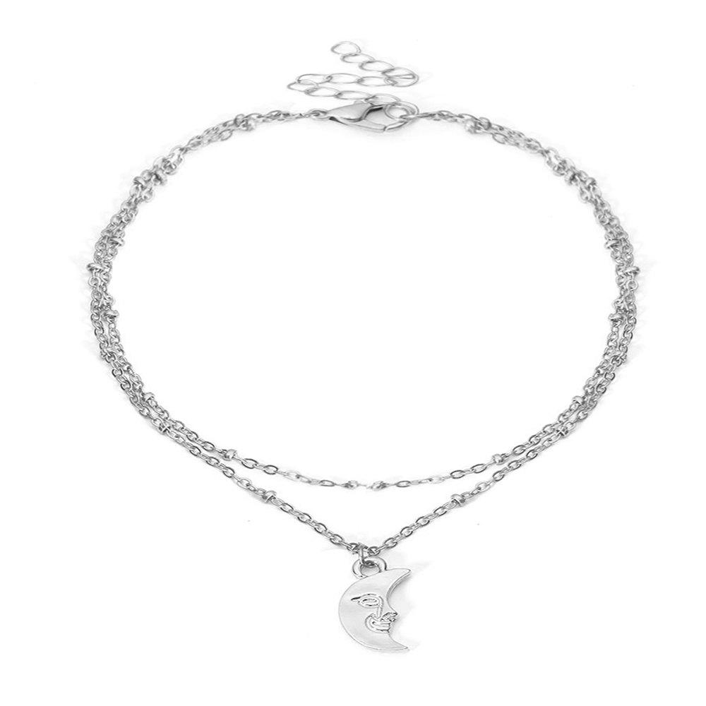 Discount Multi-layer moon pendant anklet